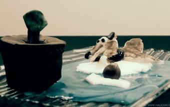 Recette d'un dessert, une ile flottante, sur le personnage de Scrat du film d'animation Age de Glace