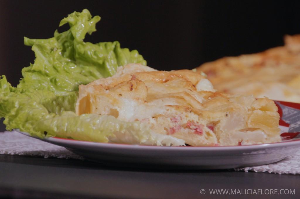 Quiche au chou-fleur, lardons et mozzarella