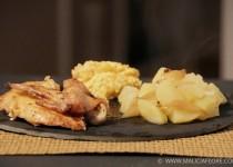 Poulet rôti farci aux petits-suisses et aux abricots