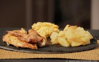 Poulet rôti et sa farce aux abricots